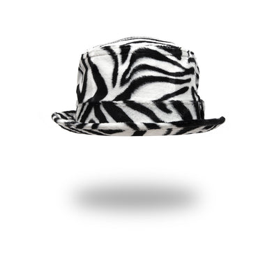 Bedwin & The Heartbreakers | 'Chet' Fake Fur Poke Pie Hat Zebra - Concrete