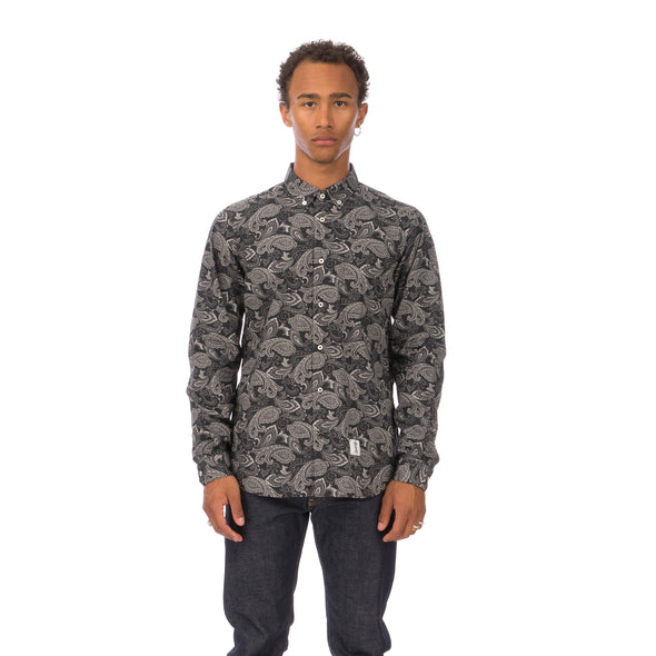 Bedwin & The Heartbreakers | 'Bob' Long Sleeve OG Bandana Work Shirt Black - Concrete