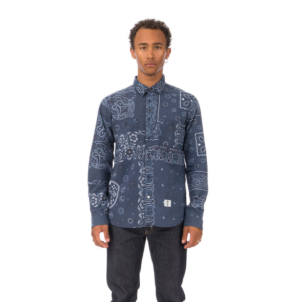 Bedwin & The Heartbreakers | 'Brian' Long Sleeve B.D. OG Paisley Shirt Navy - Concrete
