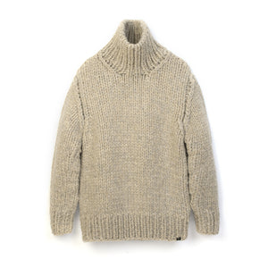 Bedwin & The Heartbreakers | 'Asher' T-Neck Hand Knit Sweater Beige - Concrete