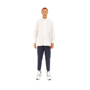 Bedwin & The Heartbreakers | 'Bryce' L/S Organic Cotton Broad Shirt White - Concrete