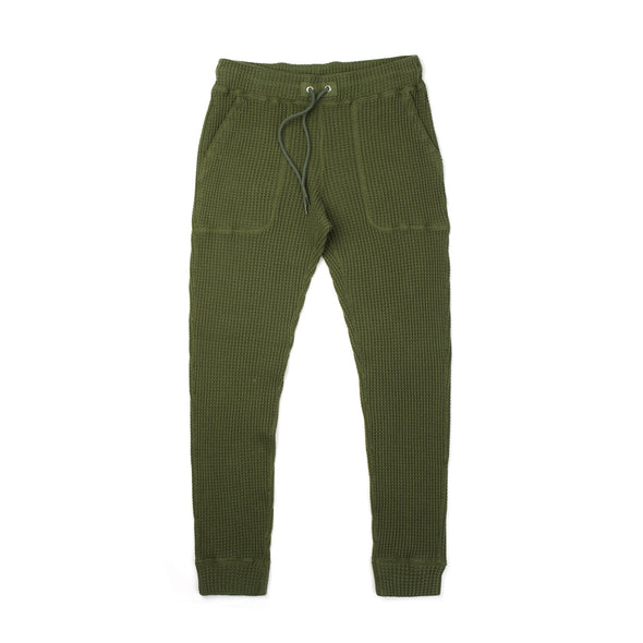 Bedwin & The Heartbreakers | 'Cucchi' 10L Tapered Fit Thermal Pants Olive - Concrete