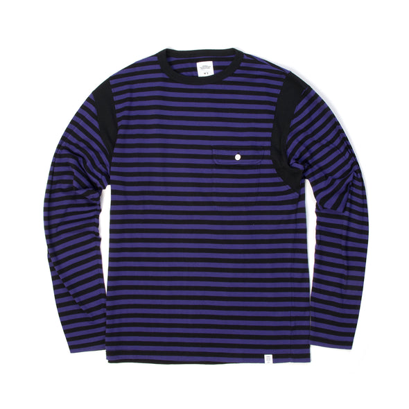 Bedwin & The Heartbreakers | 'Earnie' L/S C-Neck Border T-Shirt Purple - Concrete