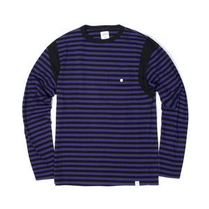 Bedwin 'Earnie' L/S C-Neck Border T-Shirt Purple