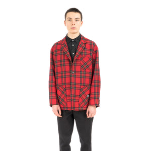 Bedwin & The Heartbreakers | 'Travis' 4B Wool Flannel Taylor Jacket Red - Concrete