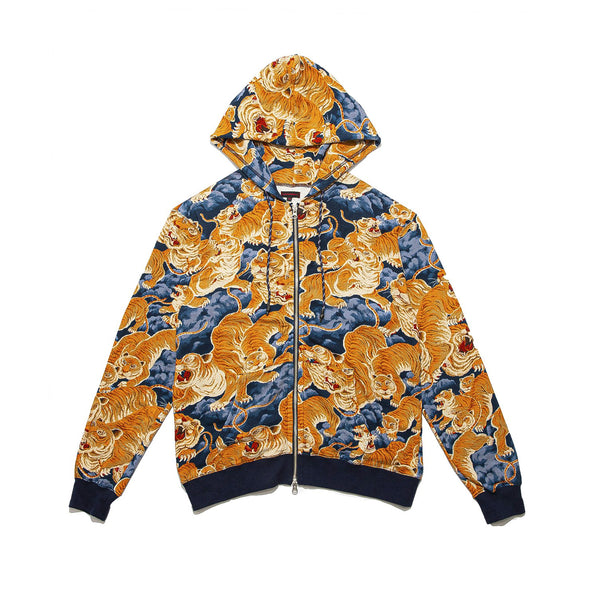 CLOT | Tiger Clouds Zip Up Hoodie Blue - Concrete