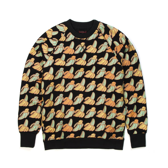 CLOT | x Sk8thing Allover Banana Crewneck Sweat Black - Concrete