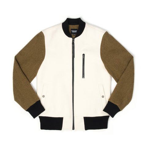 Christopher Raeburn Men's Wool Bomber Cream - Concrete
