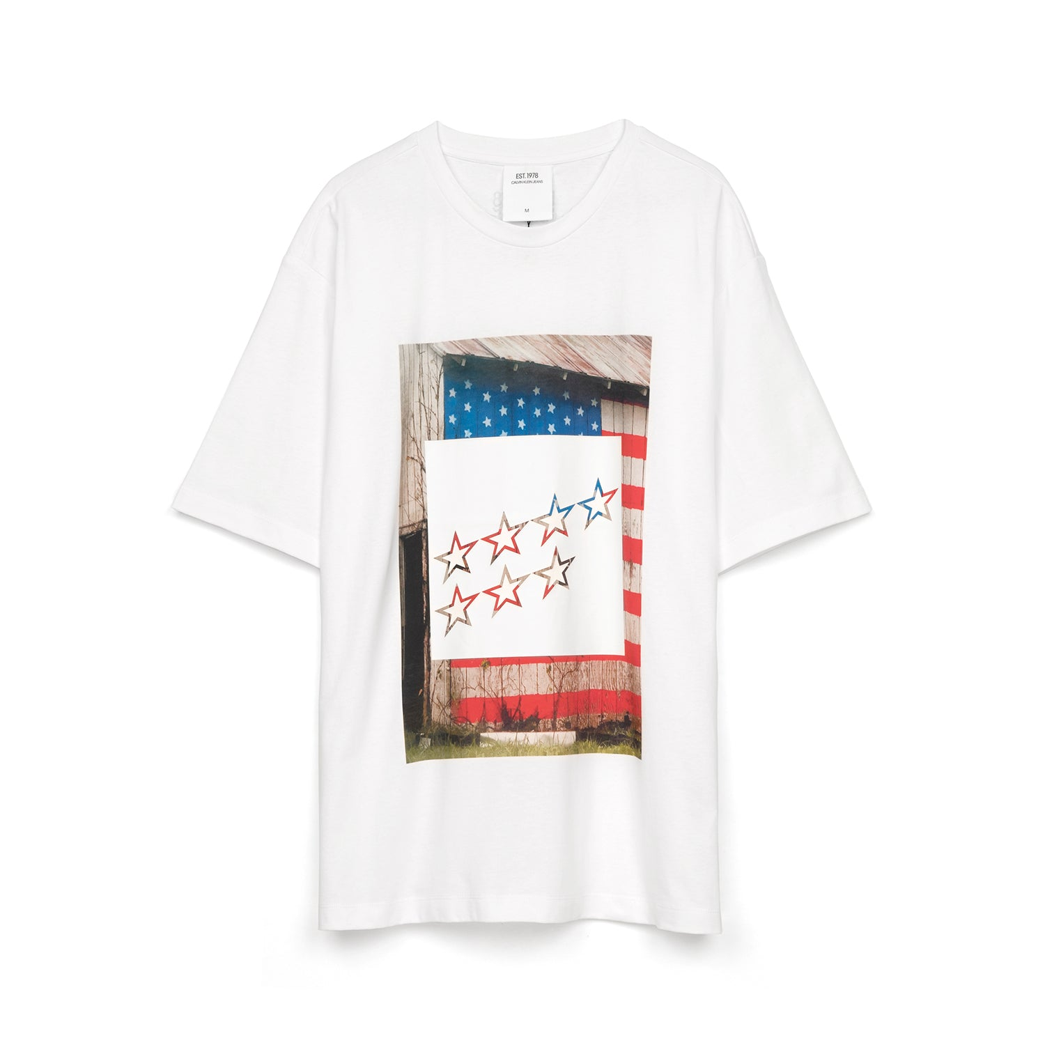2cd9220387a6 Calvin Klein Jeans Est. 1978 Stars Landscape T-Shirt Bright White. Touch to  zoom