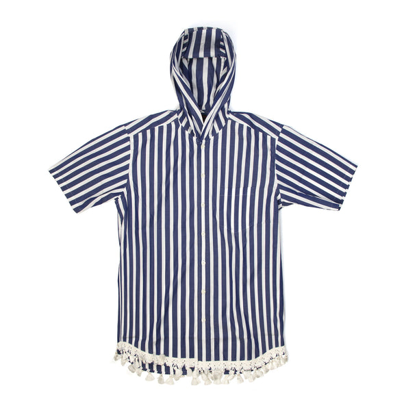 CLOT | Hooded S/S Button Up Shirt Stripe - Concrete