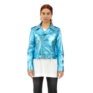 CocoCloude | Laminated Leather Jacket Light Blue