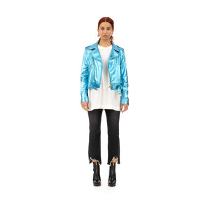 CocoCloude | Laminated Leather Jacket Light Blue - Concrete