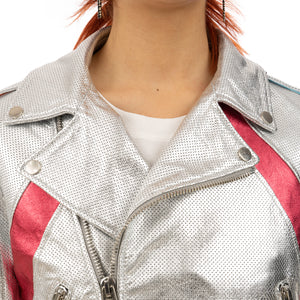 CocoCloude | Nail Perforated Leather Jacket Silver / Strawberry - Concrete