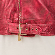 將圖像加載到畫廊查看器中CocoCloude | Nail Perforated w/ Bands Leather Jacket Strawberry Red - Concrete