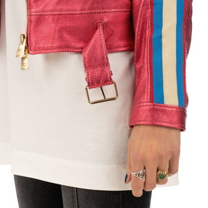 CocoCloude | Nail Perforated w/ Bands Leather Jacket Strawberry Red - Concrete