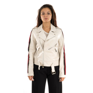CocoCloude Womens Leather Jacket Bianco