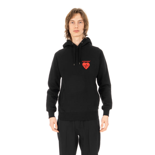 Concrete | 'Heartbeat' Logo Hoodie Black / Red - Concrete