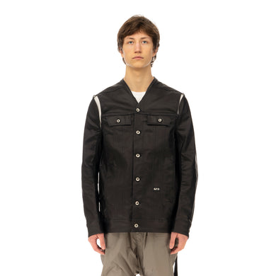 DRKSHDW by Rick Owens | Jumbo Trucker Caped Denim Jacket Black