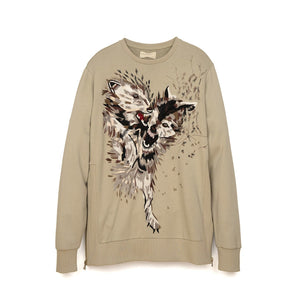 IH NOM UH NIT Embroidered Sweater - Pearls On The Back Taupe