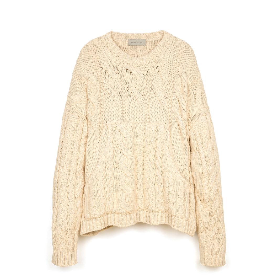 Danilo Paura 'Luke' Oversized Braiding Sweater Cream