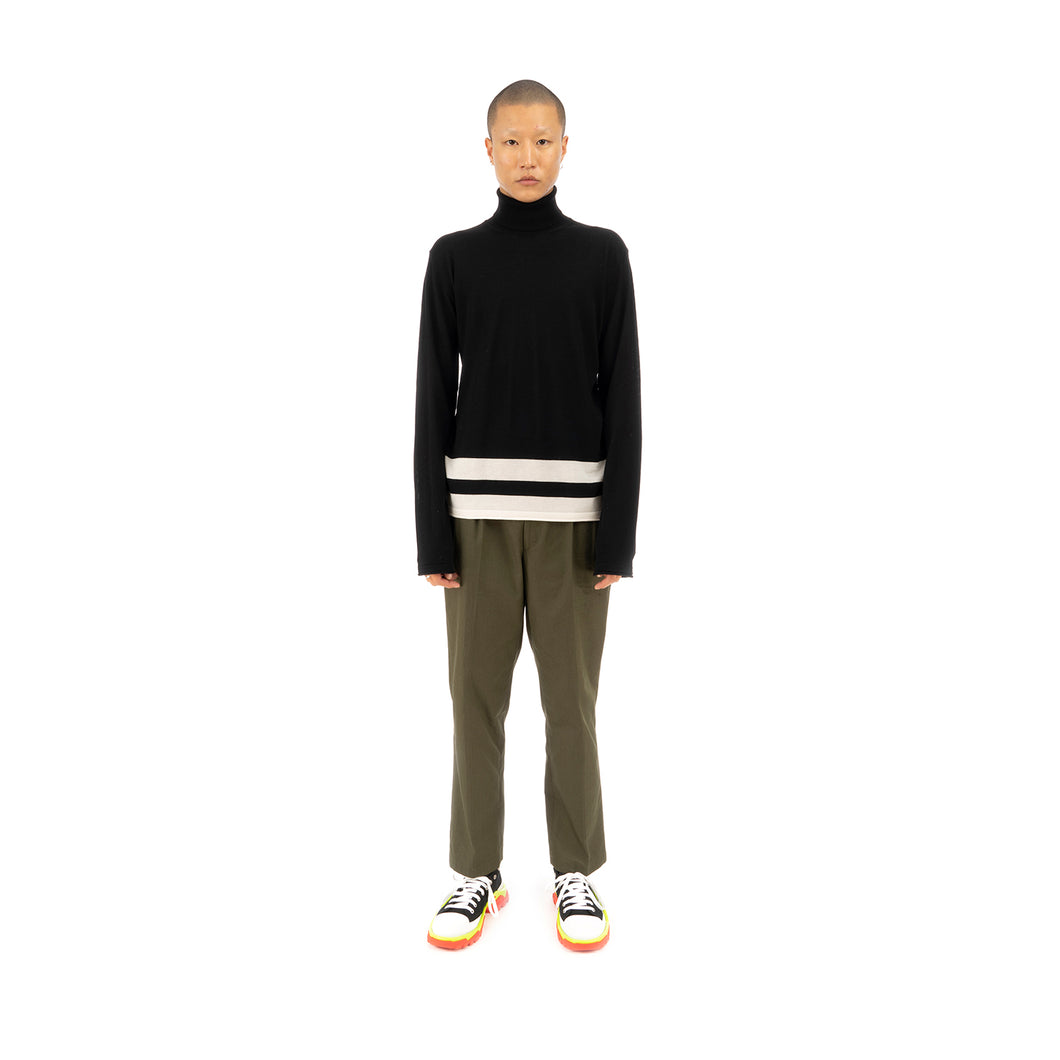 Danilo Paura 'Bashkim' Highneck Sweater Merinos Black / Cream - Concrete