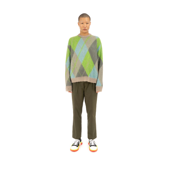 Danilo Paura 'Harris' Argyle Crewneck Sweater Lime - Concrete