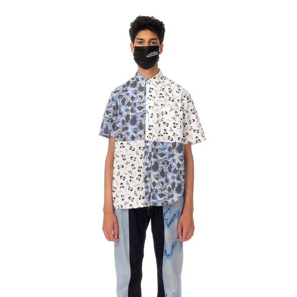 Duran Lantink for Concrete | The Beatles S/S Camo Shirt-1 Blue / White