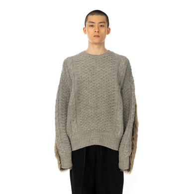 FACETASM | Faux Fur Knit Gray - Concrete