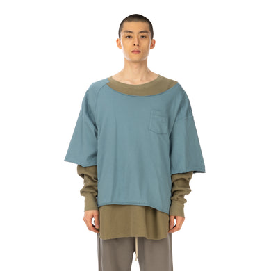 FACETASM | Layered T-Shirt Blue - Concrete