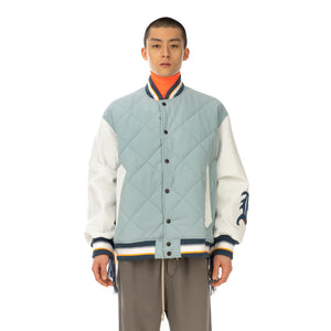 FACETASM | Quilted Varsity Jacket Blue - Concrete