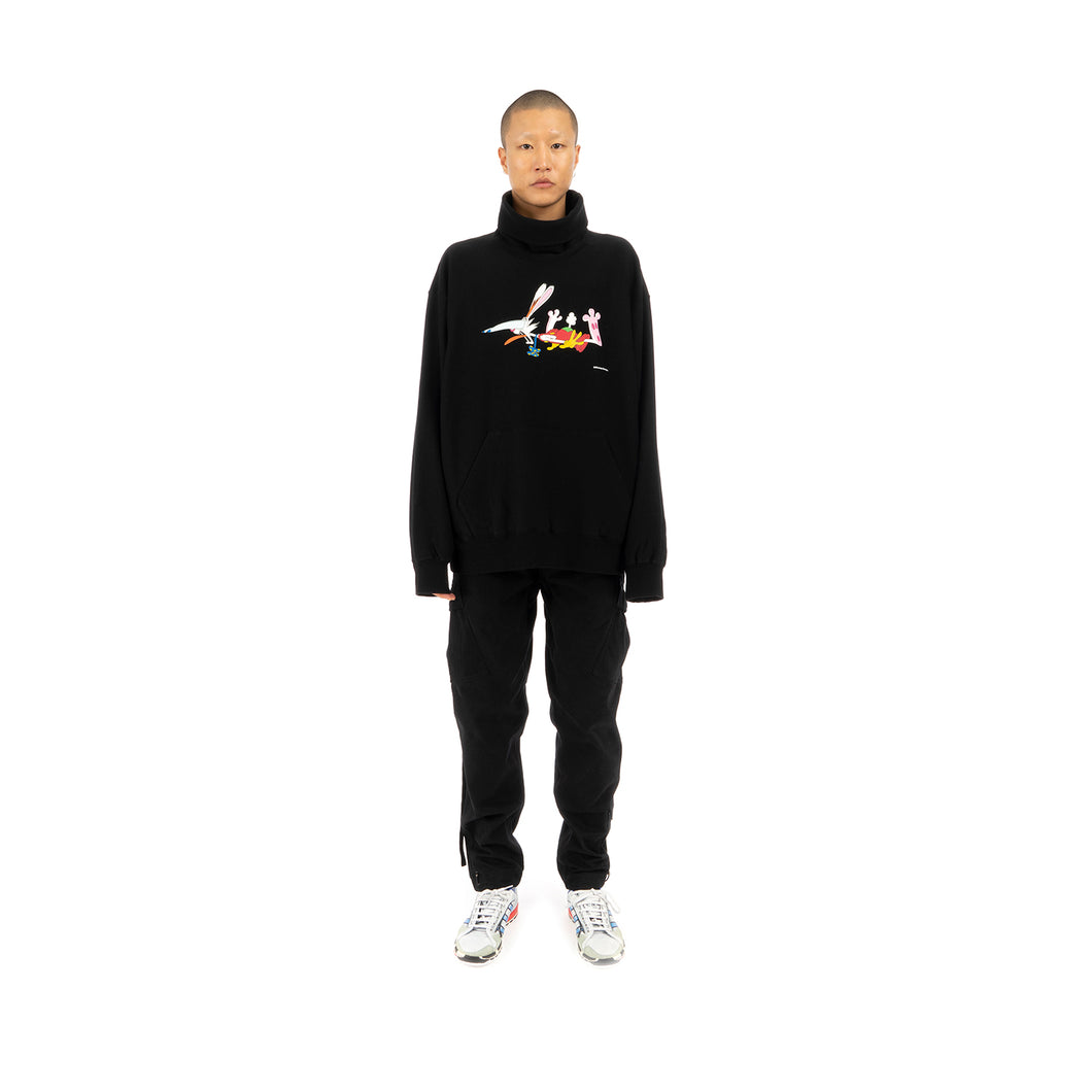 FACETASM Roger Rabbit Neck Sweatshirt Black