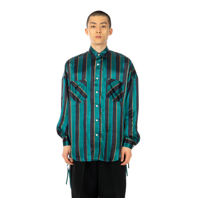 FACETASM | University Striped Shirt Green - Concrete
