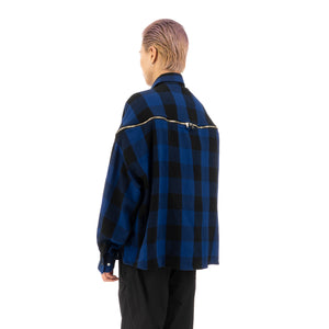 FACETASM | Zipper Check Shirt Blue