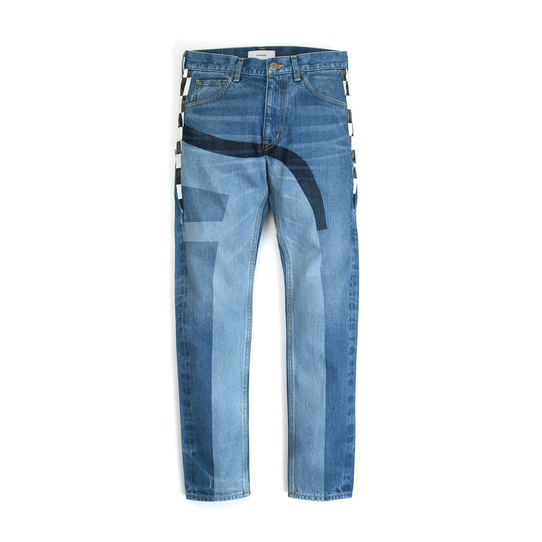 FACETASM | Checker Flag Denim Pant Indigo - Concrete