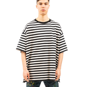 FACETASM | Striped Rib Big T-Shirt Black / White - Concrete