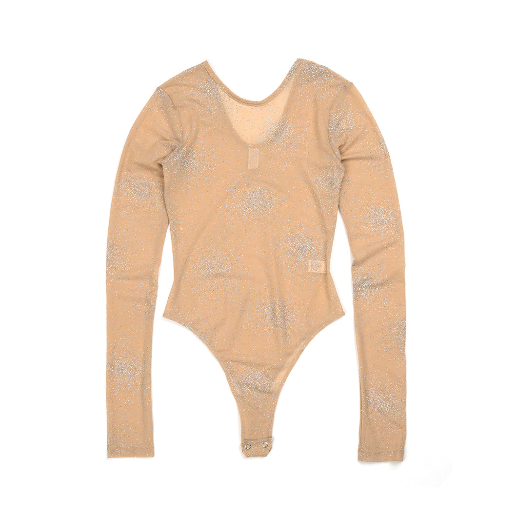 FANTABODY 'Erika' L/S Body Tulle Strass Body Nude - Concrete