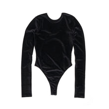 Load image into Gallery viewer, FANTABODY 'Erika' L/S Body Velvet Black