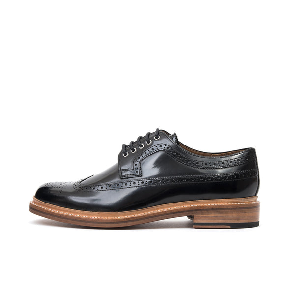 Grenson | 'Sid' Rub Off Broque Ledo Black - Concrete
