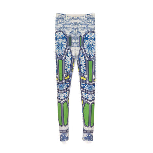 Ground Zero | Chinese Floral Geometric Print Legging - Concrete