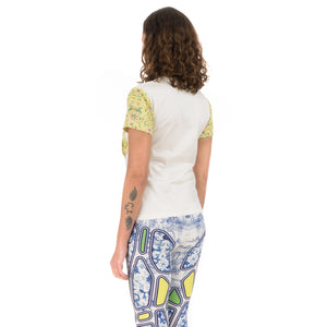 Ground Zero | Chinese Floral Print T-Shirt White / Yellow - Concrete