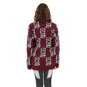 Ground Zero | Furious Pattern Jacquard Sweater Burgundy - Concrete