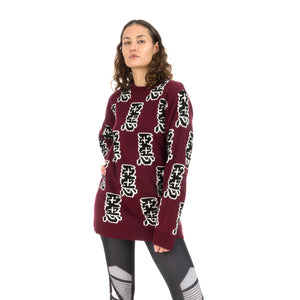 Ground Zero Furious Pattern Jacquard Sweater Burgundy