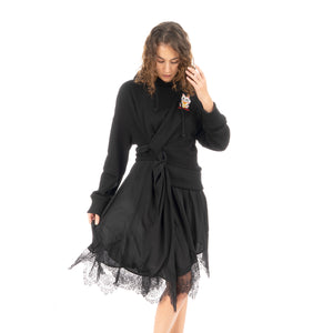 Ground Zero | Lucky Pussy Drap Dress Black - Concrete