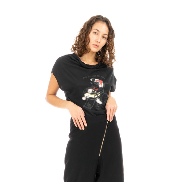 Ground Zero | No More Crossover Drappy Tee Dress Black - Concrete