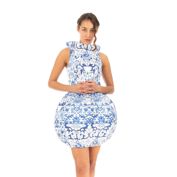 Ground Zero | Chinese Floral Print Round Vase Dress - Concrete