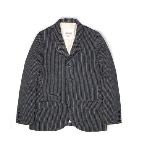 Hansen Aksel Five Button Blazer Indigo - Concrete