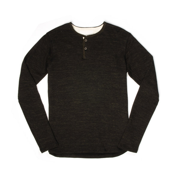 Hansen | 'Mikkel' Two Button Henley Black Melange - Concrete