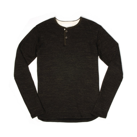 Hansen Mikkel Two Button Henley Black Melange - Concrete