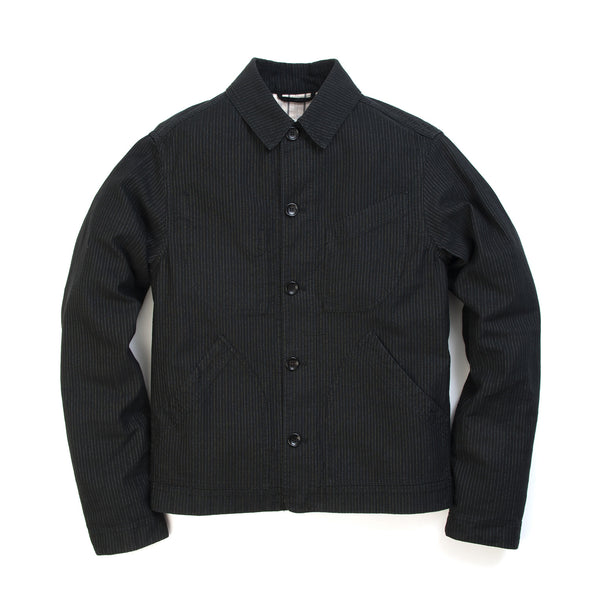 Hansen | 'Laust' Work Jacket Black Pin Stripe - Concrete