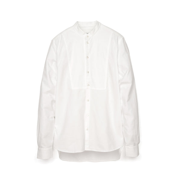 Hansen | 'Valmar' Collarless Bib Shirt White - Concrete